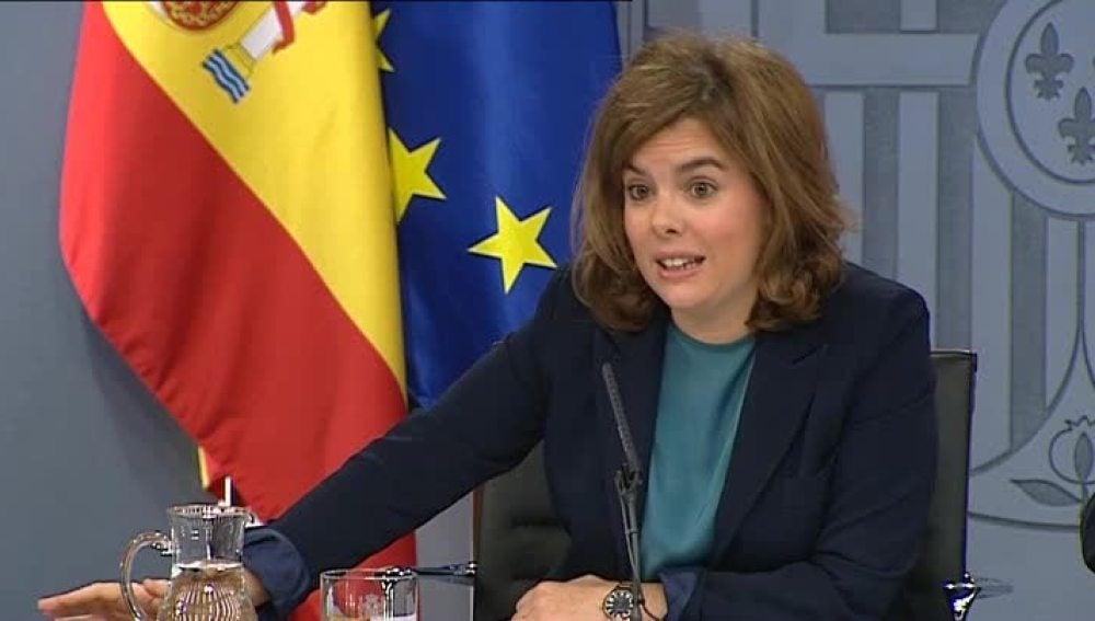Sáenz de Santamaría en rueda de prensa.
