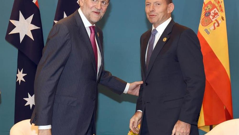 Rajoy con el primer ministro australiano, Tony Abbot