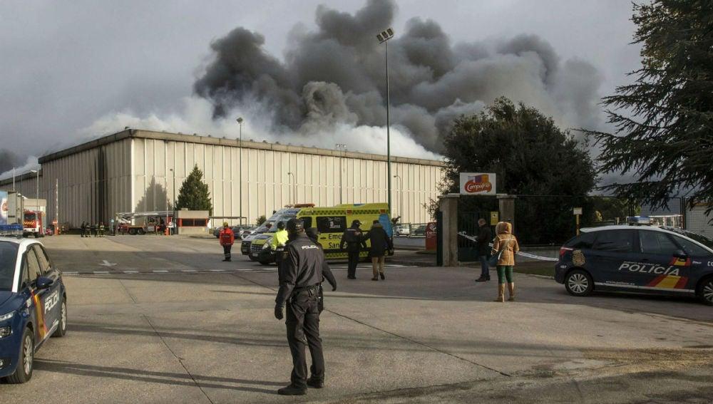 Incendio en la planta de Campofrío en Burgos