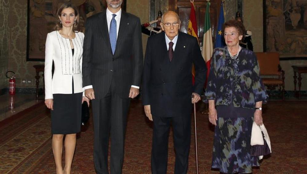 Los Reyes con Giorgo Napolitano.
