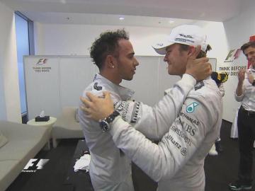 Hamilton y Rosberg al acabar la carrera