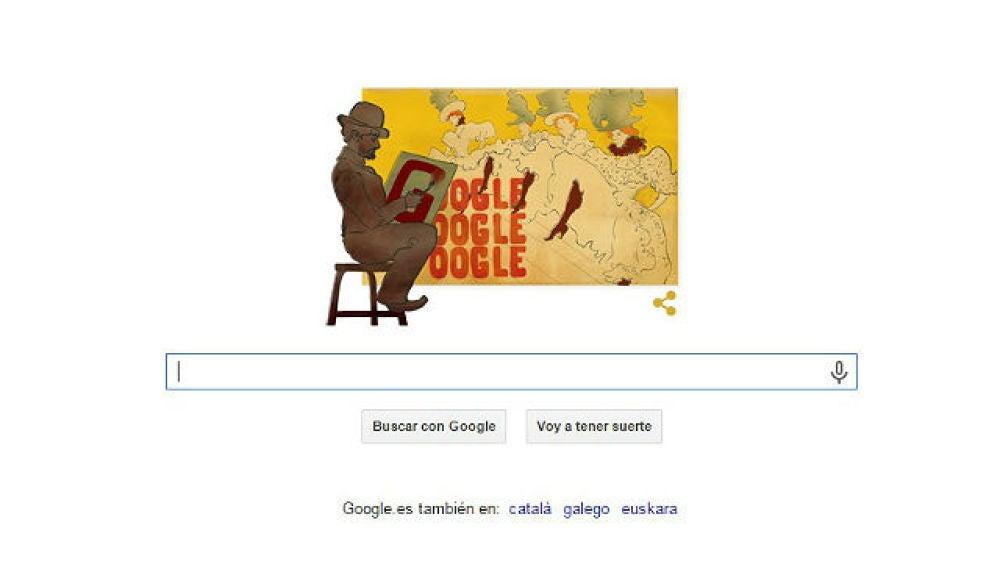 Doodle por el 150 nacimiento de Toulouse Lautrec