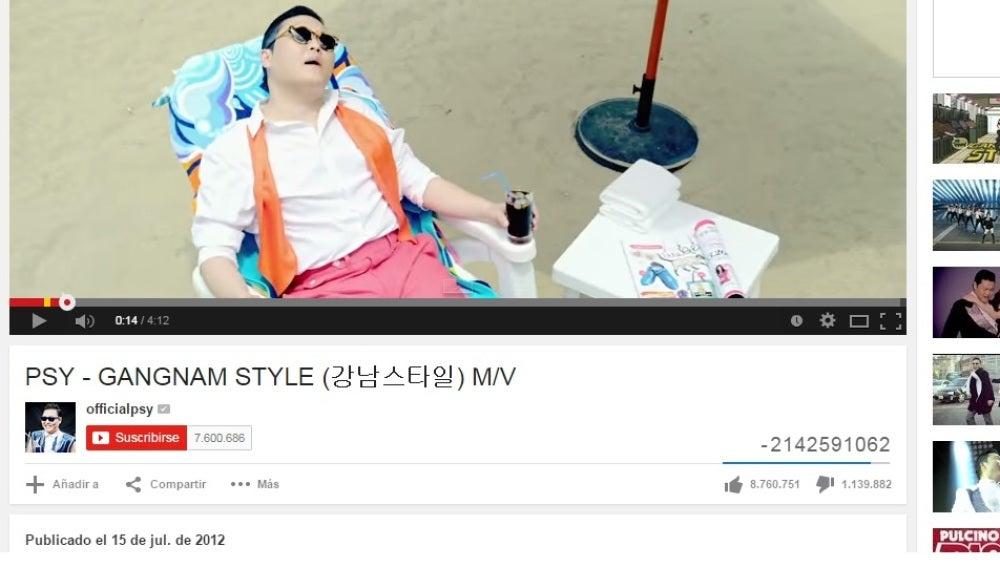 El contador de visitas del Gangnam Style, en números negativos