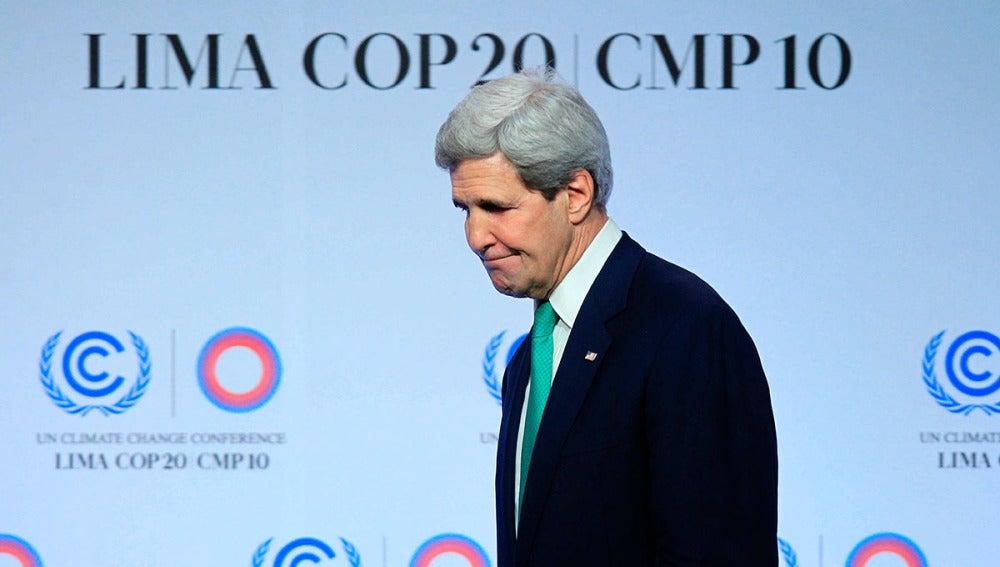 El secretario de Estado de EE.UU, John Kerry, en la Cumbre del Clima, en Lima