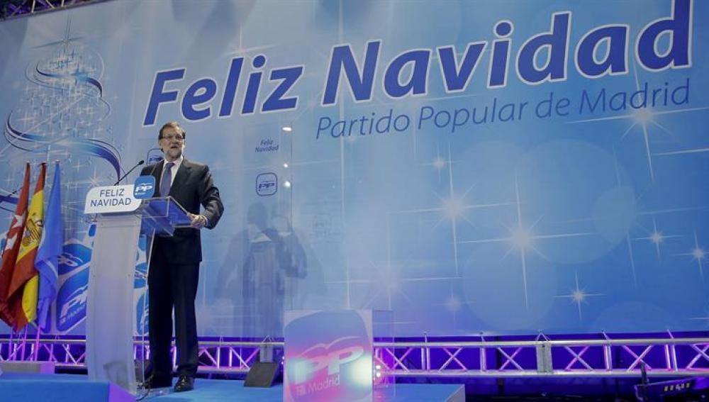 Rajoy, durante su intervención en la tradicional cena de Navidad del PP