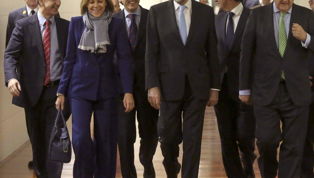 Mariano Rajoy, acompañado por parte de su equipo