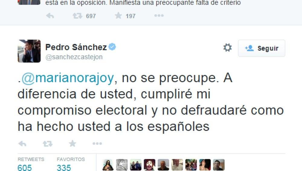 Enfrentamiento entre Rajoy y Sánchez en Twitter