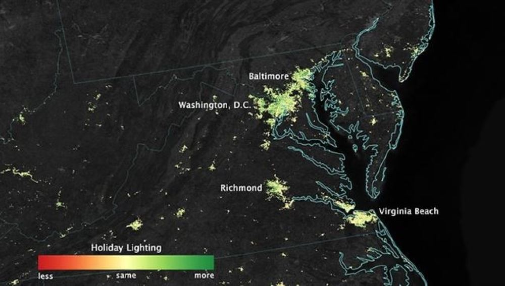 Imagen del mapa captado por la NASA.