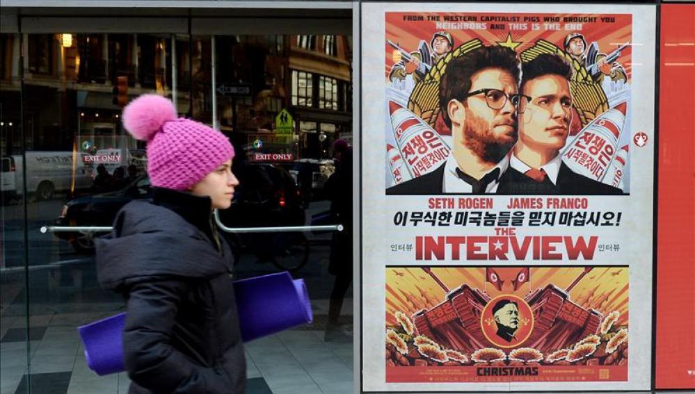 Cartel promocional d ela cinta 'The interview'en Nueva York.