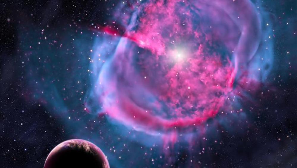 Recreación artística de un planeta similar a la tierra.