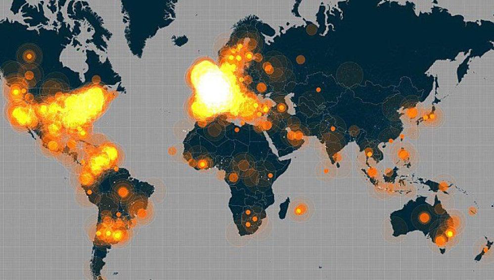 Popularidad del hashtag #JeSuisCharlie en todo el mundo