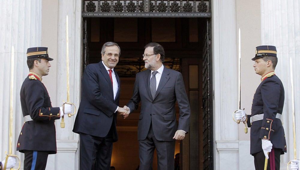 Andonis Samaras recibe a Mariano Rajoy