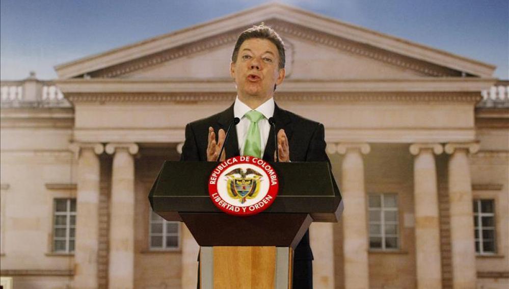 El presidente Juan Manuel Santos, en su mensaje al país.
