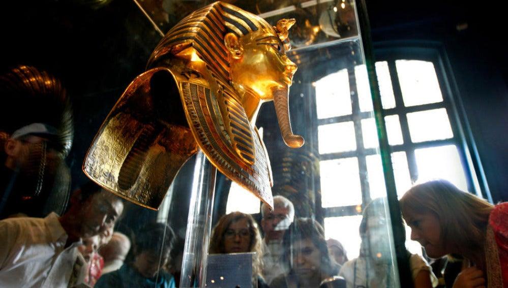 La máscara de Tutankamón, en el Museo del Cairo