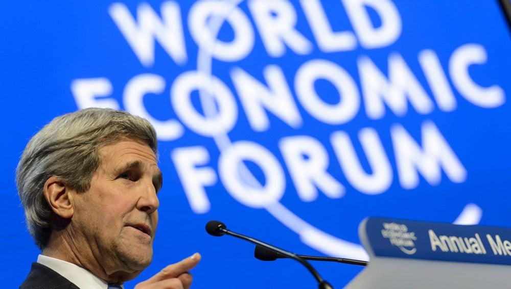 l secretario de Estado de EEUU, John Kerry, en Davos