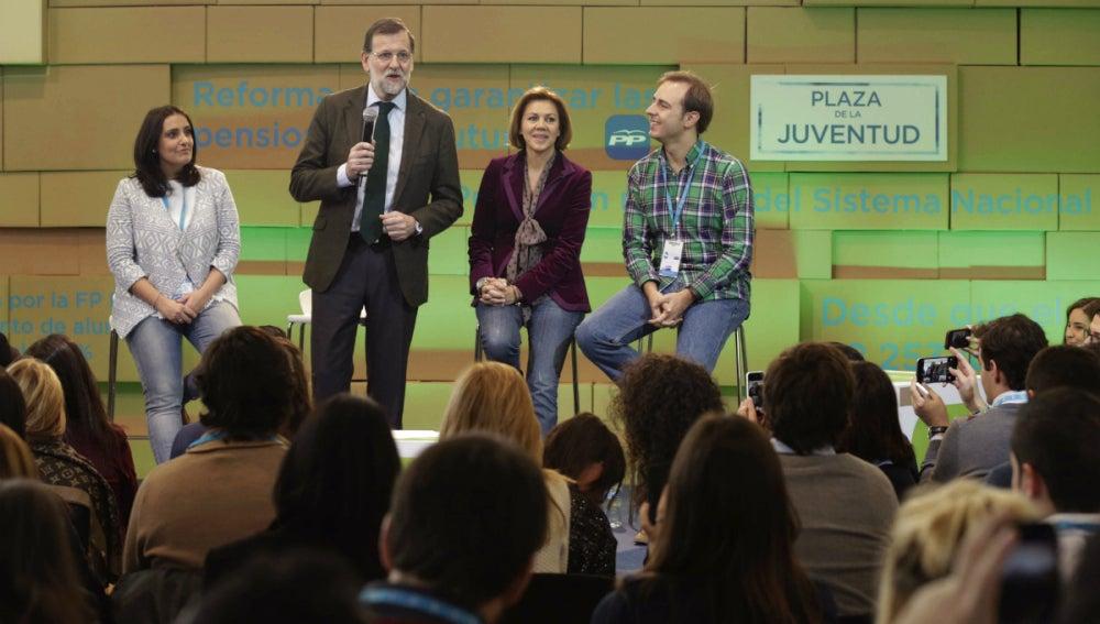 Mariano Rajoy, junto a Cospedal, Jurado y Dorado