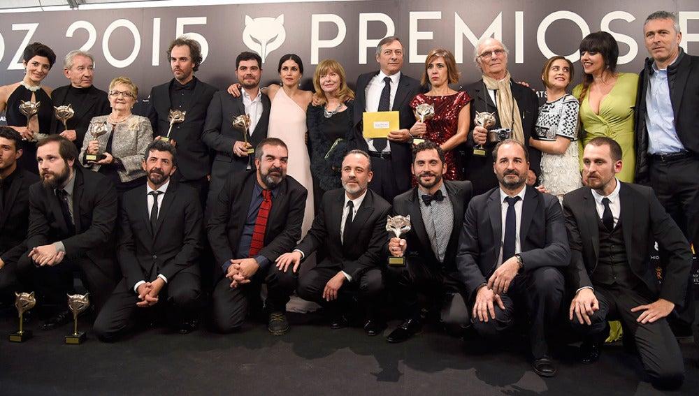 Foto de familia de todos los ganadores a los Premios Feroz 2015