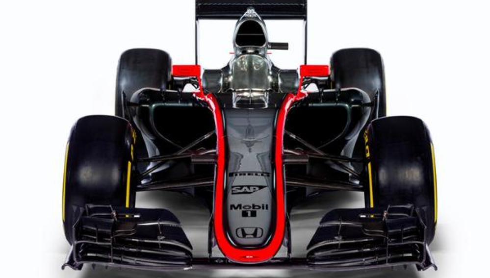 El McLaren-Honda MP4-30 de frente