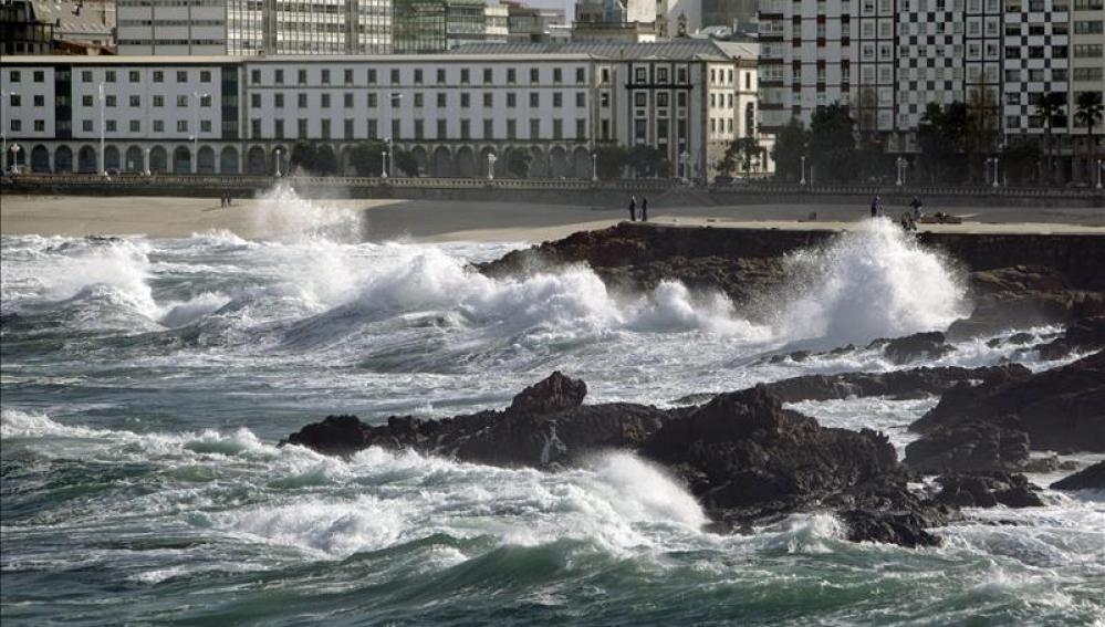 Fuerte oleaje en A Coruña