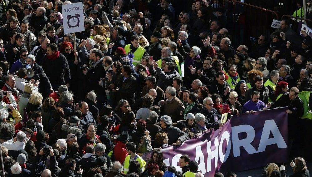 """Cabecera de la """"marcha del cambio"""", convocada por Podemos"""