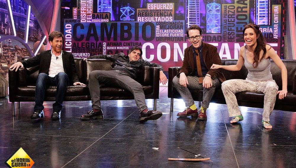 Joaquín Reyes y Ernesto Sevilla con Pilar Rubio en El Hormiguero 3.0