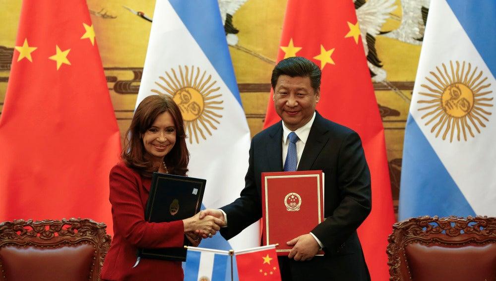 La presidenta argentina y su homólogo chino, Cristina Fernández y Xi Jinping