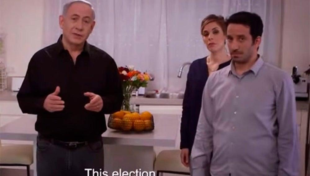 Netanyahu en un momento del spot para conseguir votos.