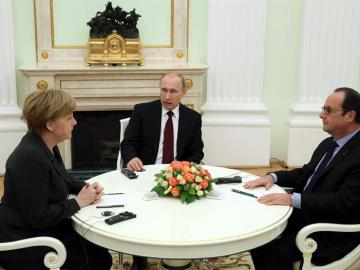 Merkel, Putin y Hollande