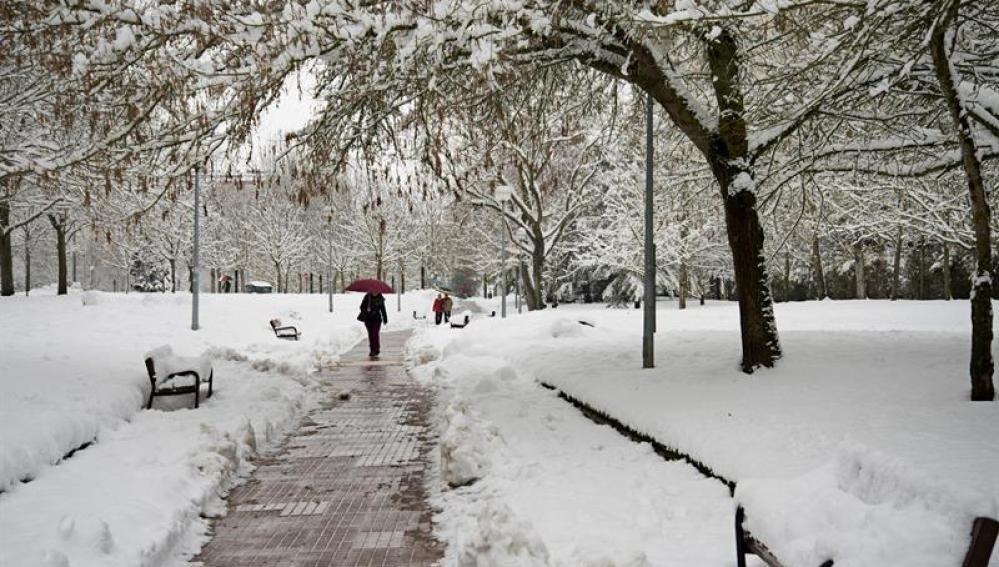 Varias personas pasean por uno de los parques nevados de Vitoria