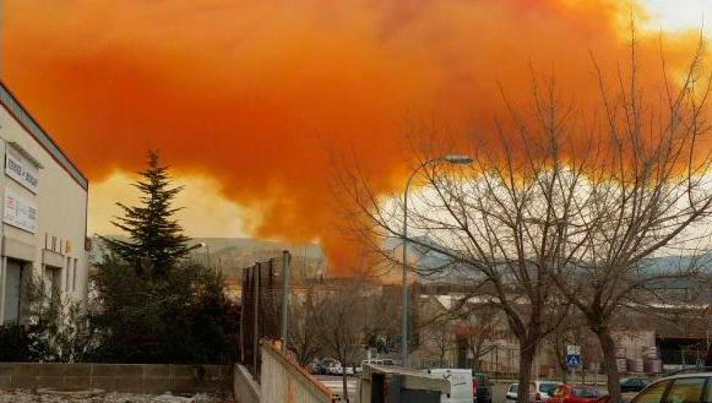 Fotografía de la nube tóxica en Igualada