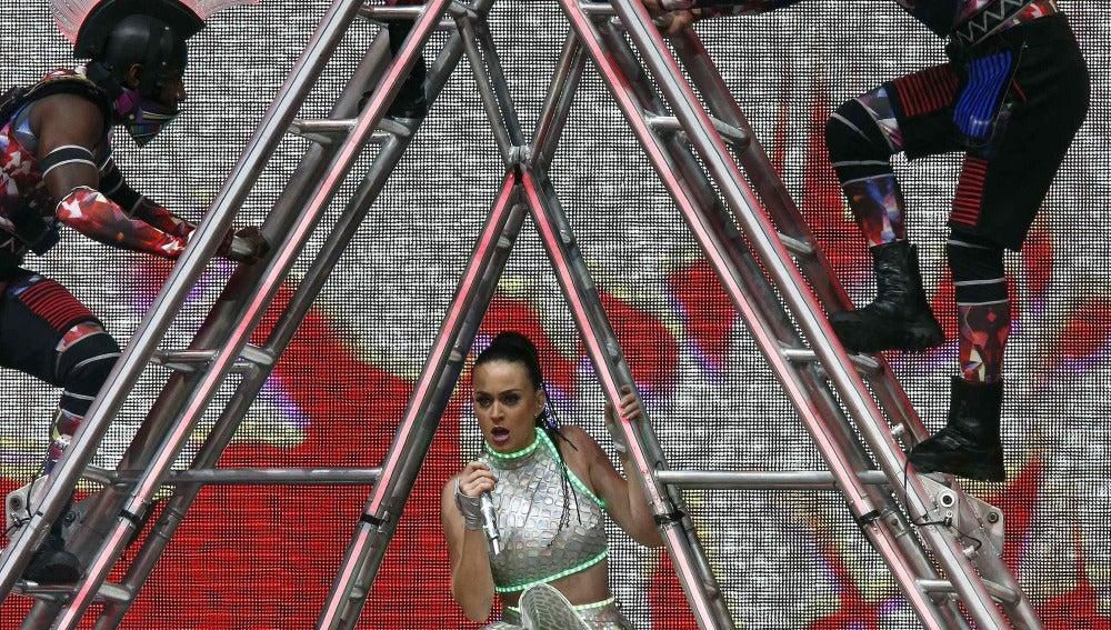 La cantante Katy Perry durante el concierto ofrecido en Barcelona