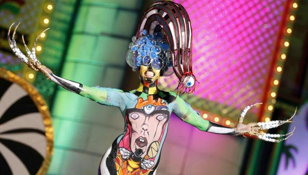 La modelo Idaira Bujeda, con la fantasía 'La mala educación'