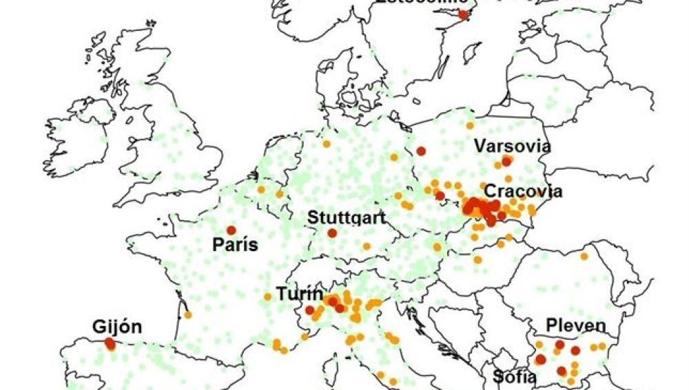 Mapa de la contaminación en Europa