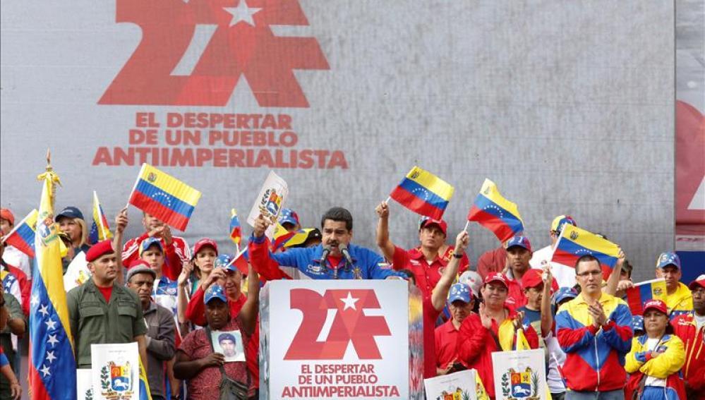Nicolás Maduro en durante un mitin en Venezuela.