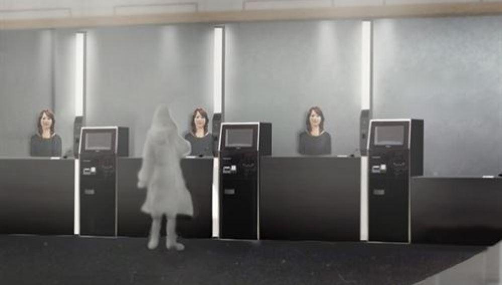 Recreación del hotel atendido por robots.