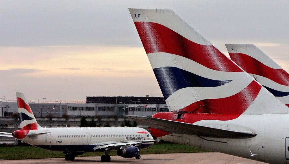 Aviones de British Airways, en el aeropuerto de Heathrow