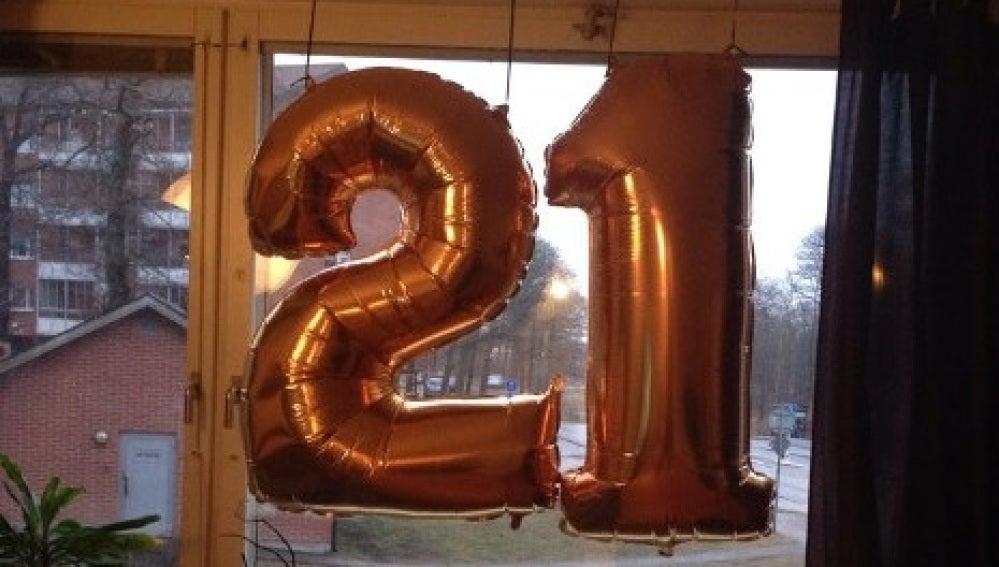 Globos del '21 cumpleaños'