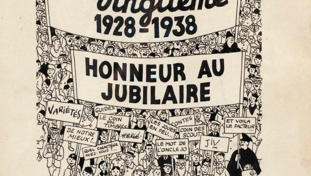 Plancha original de una portada de Tintín