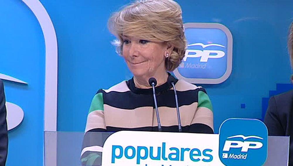 Esperanza Aguirre,  en rueda de prensa