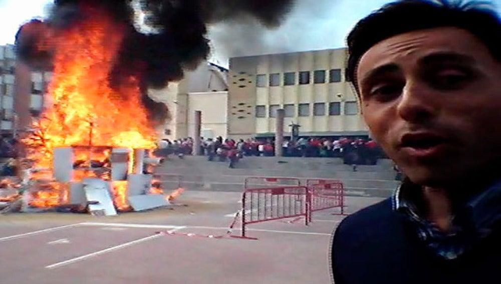 Carlos Villán, en una cremá en un colegio de Valencia