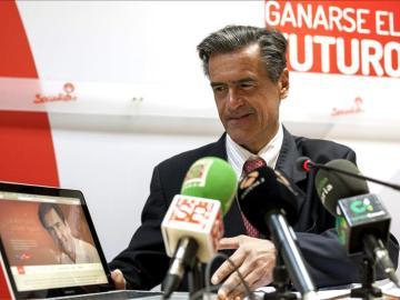 Juan Fernando López Aguilar,durante una rueda de prensa en Las Palmas de Gran Canaria