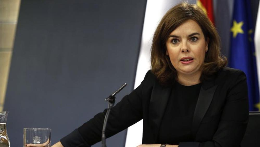 Soraya Sáenz de Santamaría, durante una rueda de prensa ofrecida tras el Consejo de Ministros
