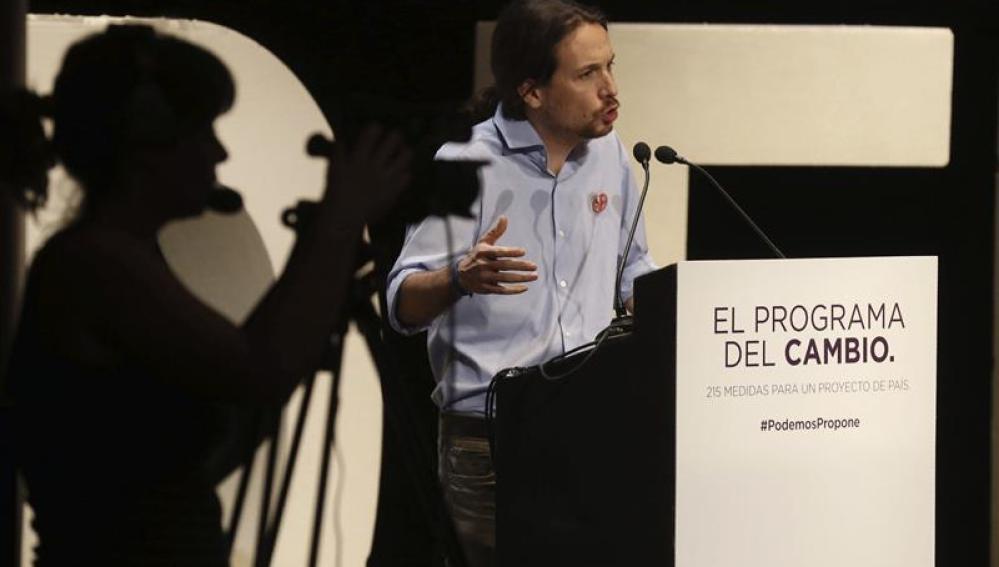 Pablo Iglesias en la presentación del programa para las elecciones autonómicas del 24M