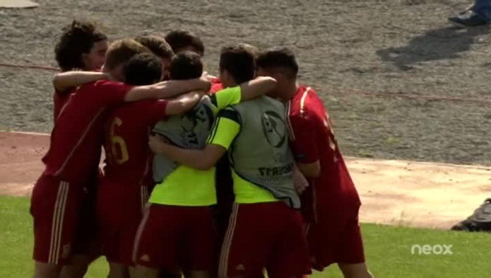 España celebra el gol de Aleña
