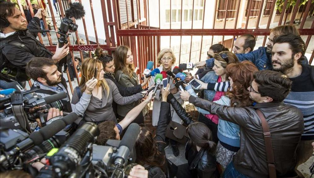Manuela Carmena ante los medios de comunicación