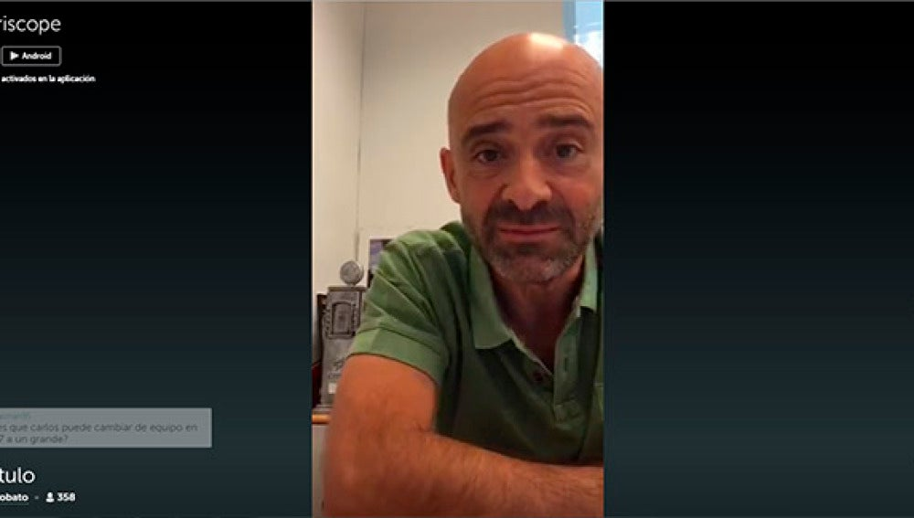 Antonio Lobato en uno de sus momentos de conexión con Periscope.