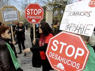 Fotografía de archivo de una protesta contra los desahucios
