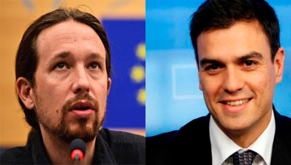 Los líderes de Podemos, Pablo Iglesias y PSOE, Pedro Sánchez.