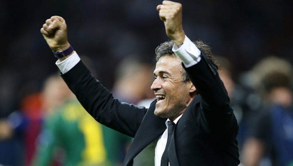 Luis Enrique celebrando la victoria del Barça