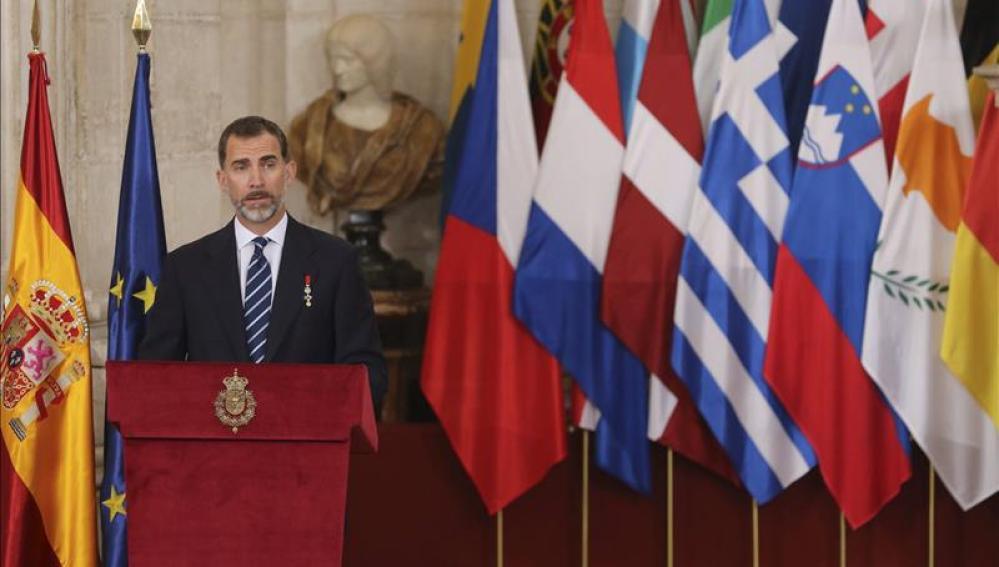 El Rey Felipe VI durante su intervención en el acto conmemorativo por el 30 aniversario de la adhesión de España a las Comunidades Europeas